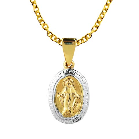Handmade Virgin Mother Mary Miraculous Prayer Gold Over Sterling Silver Necklace (Thailand)