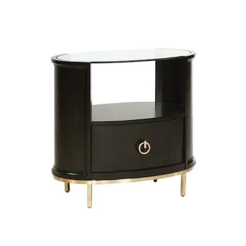 1 Drawer Oval Shaped Glass Top Nightstand with Open Compartment, Dark Brown
