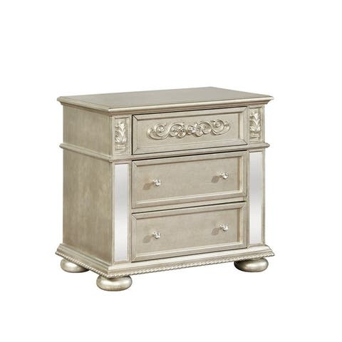3 Drawers Nightstand with Ornate Carving and USB Ports, Silver