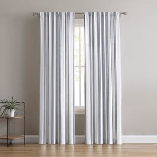 Brielle Home Flannery Striped Light-Filtering Window Panel Pair