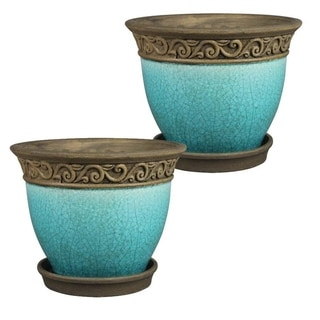 """Link to 8"""" Cadiz Planter, Teal 2-pk. Similar Items in Planters, Hangers & Stands"""