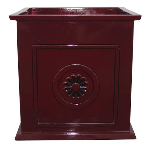 "16"" Colony Square Planter, Oxblood"