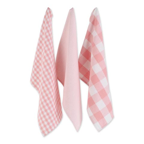 DII Assorted Pink/White Dishtowel Set/3