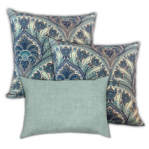 Blue Oriental Rugs Indoor/Outdoor Pillow, Set of 2 Large & 1 Lumbar Pillow