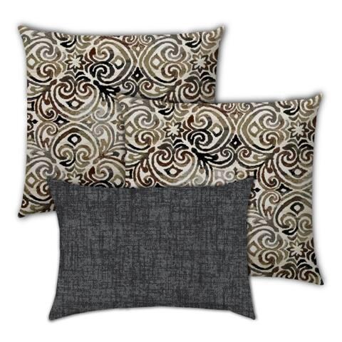 Dark Chocolate Indoor/Outdoor, Zippered Pillow Cover, Set of 2 Large & 1 Lumbar