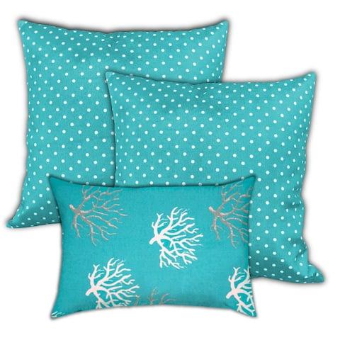 Cayman Islands Indoor/Outdoor Pillow, Set of 2 Large & 1 Lumbar Pillow