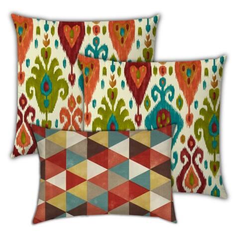 Indian Summers Indoor/Outdoor Pillow, Set of 2 Large & 1 Lumbar Pillow