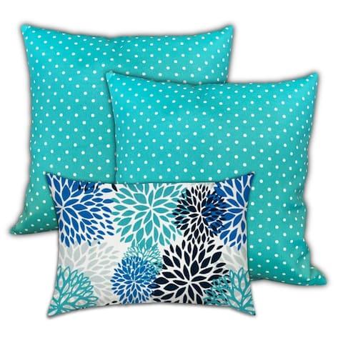 Aqua Sea Life Indoor/Outdoor Pillow, Set of 2 Large & 1 Lumbar Pillow