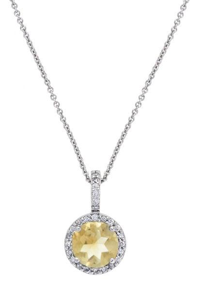 Glitzy Rocks Sterling Silver Citrine and CZ Circle Necklace