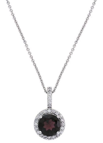 Glitzy Rocks Sterling Silver Garnet and Cubic Zirconia Necklace