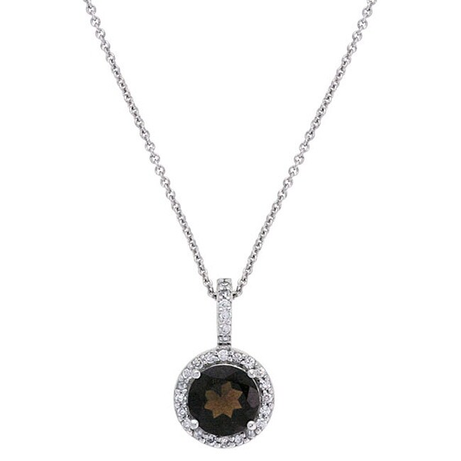 Glitzy Rocks Sterling Silver Smokey Quartz and CZ Necklace
