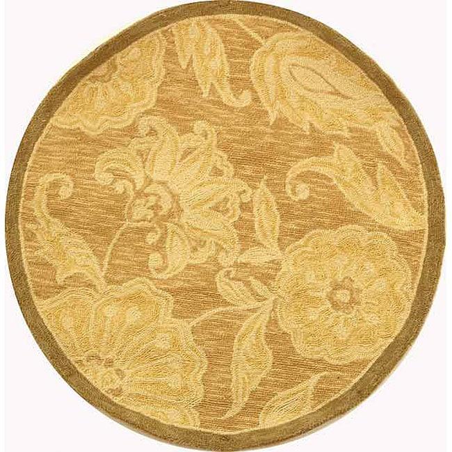 Safavieh Hand-hooked Eden Abrashed Beige/ Light Brown Wool Rug (3' Round)