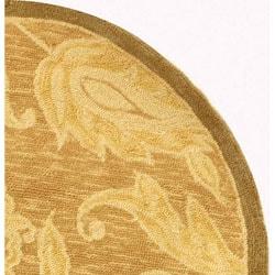 Safavieh Hand-hooked Eden Abrashed Beige/ Light Brown Wool Rug (3' Round) - Thumbnail 2