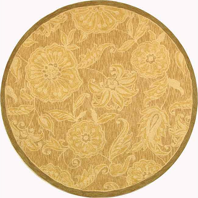 Safavieh Hand-hooked Eden Abrashed Beige/ Light Brown Wool Rug - 4' x 4' Round
