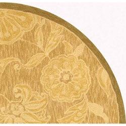 Safavieh Hand-hooked Eden Abrashed Beige/ Light Brown Wool Rug (4' Round) - Thumbnail 2