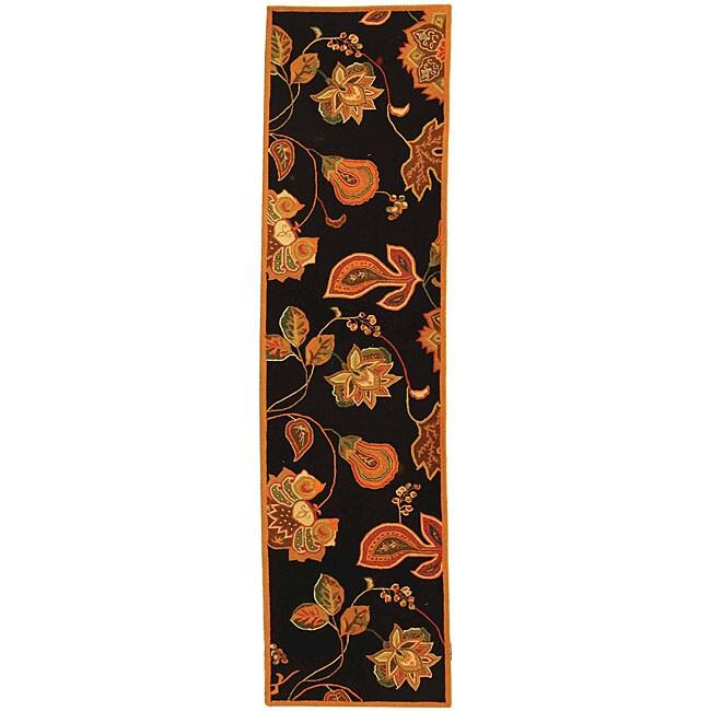 Safavieh Hand-hooked Autumn Leaves Black/ Orange Wool Runner (2'6 x 6')
