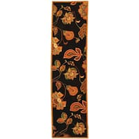"Safavieh Hand-hooked Autumn Leaves Black/ Orange Wool Runner - 2'6"" x 8'"