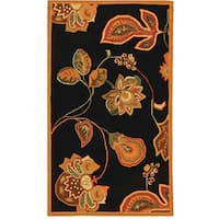 "Safavieh Hand-hooked Autumn Leaves Black/ Orange Wool Rug - 2'9"" x 4'9"""
