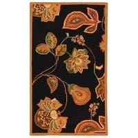 """Safavieh Hand-hooked Autumn Leaves Black/ Orange Wool Rug - 2'9"""" x 4'9"""""""