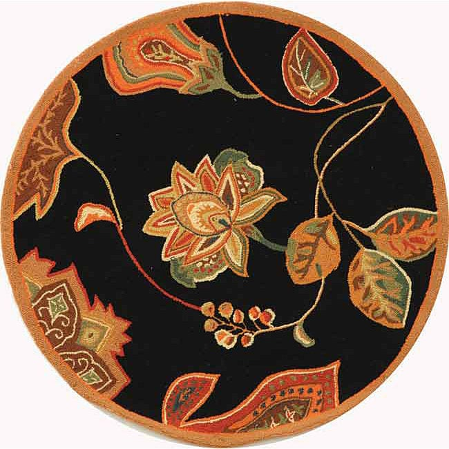 Safavieh Hand-hooked Autumn Leaves Black/ Orange Wool Rug (3' Round)