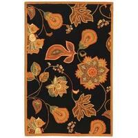"""Safavieh Hand-hooked Autumn Leaves Black/ Orange Wool Rug - 3'9"""" x 5'9"""""""