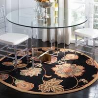 Safavieh Hand-hooked Autumn Leaves Black/ Orange Wool Rug - 4' X 4' Round