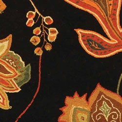 Safavieh Hand-hooked Autumn Leaves Black/ Orange Wool Rug (5'6 Round) - Thumbnail 1