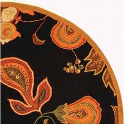 Safavieh Hand-hooked Autumn Leaves Black/ Orange Wool Rug (5'6 Round) - Thumbnail 2