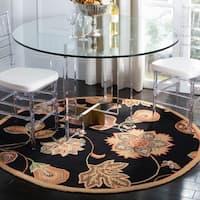 Safavieh Hand-hooked Autumn Leaves Black/ Orange Wool Rug - 8' x 8' Round