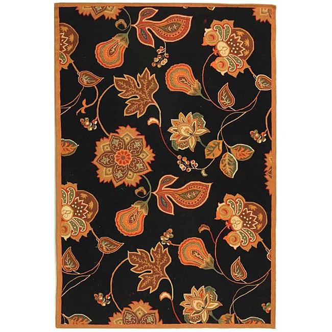 Safavieh Hand-hooked Autumn Leaves Black/ Orange Wool Rug (6' x 9')