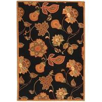 Safavieh Hand-hooked Autumn Leaves Black/ Orange Wool Rug - 6' x 9'