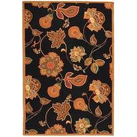 Safavieh Hand-hooked Autumn Leaves Black/ Orange Wool Rug - 7'9 x 9'9