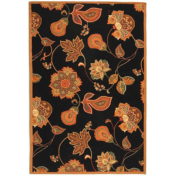 Safavieh Hand-hooked Autumn Leaves Black/ Orange Wool Rug (7'9 x 9'9)
