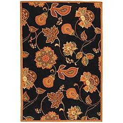 Safavieh Hand-hooked Autumn Leaves Black/ Orange Wool Rug - 8'9 x 11'9 - Thumbnail 0