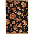 Safavieh Hand-hooked Autumn Leaves Black/ Orange Wool Rug - 8'9 X 11'9
