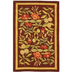 Safavieh Hand-hooked Botanical Burgundy Wool Rug - 1'8 x 2'6