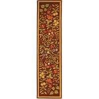 Safavieh Hand-hooked Botanical Burgundy Wool Runner Rug - 2' 6 x 12'