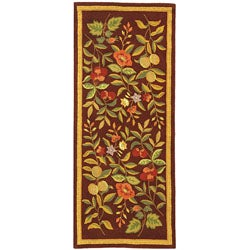 Safavieh Hand-hooked Botanical Burgundy Wool Rug (2'9 x 4'9)