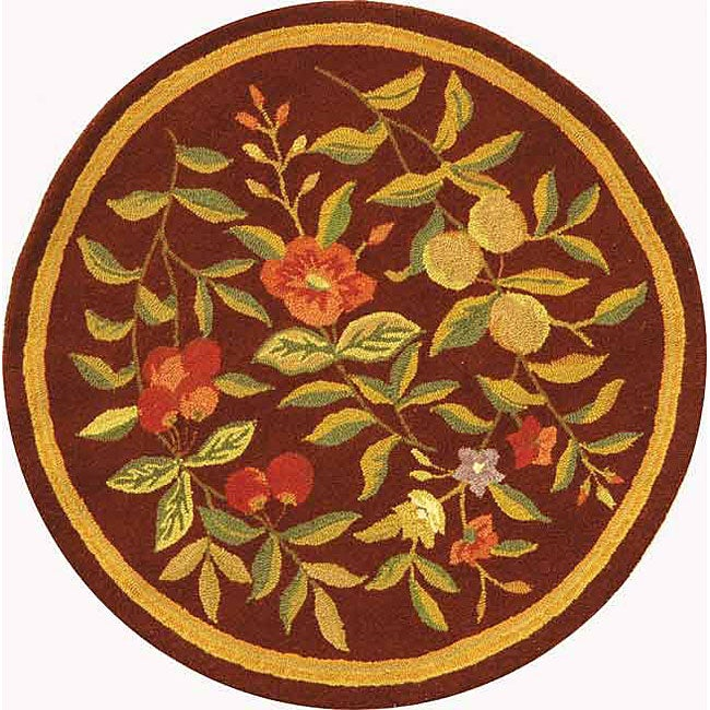 Safavieh Hand-hooked Botanical Burgundy Wool Rug (8' Round)
