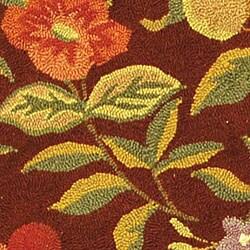 Safavieh Hand-hooked Botanical Burgundy Wool Rug (8' Round) - Thumbnail 1