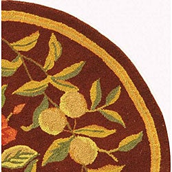 Safavieh Hand-hooked Botanical Burgundy Wool Rug (8' Round) - Thumbnail 2