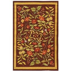 Safavieh Hand-hooked Botanical Burgundy Wool Rug - 3'9' x 5'9'