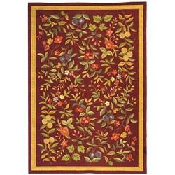 Safavieh Hand-hooked Botanical Burgundy Wool Rug (6' x 9')