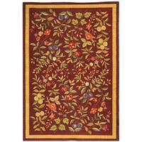 Safavieh Hand-hooked Botanical Burgundy Wool Rug - 6' x 9'