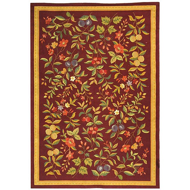 Safavieh Hand-hooked Botanical Burgundy Wool Rug - 7'9 x 9'9