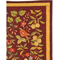 Safavieh Hand-hooked Botanical Burgundy Wool Rug (7'9 x 9'9) - Thumbnail 2