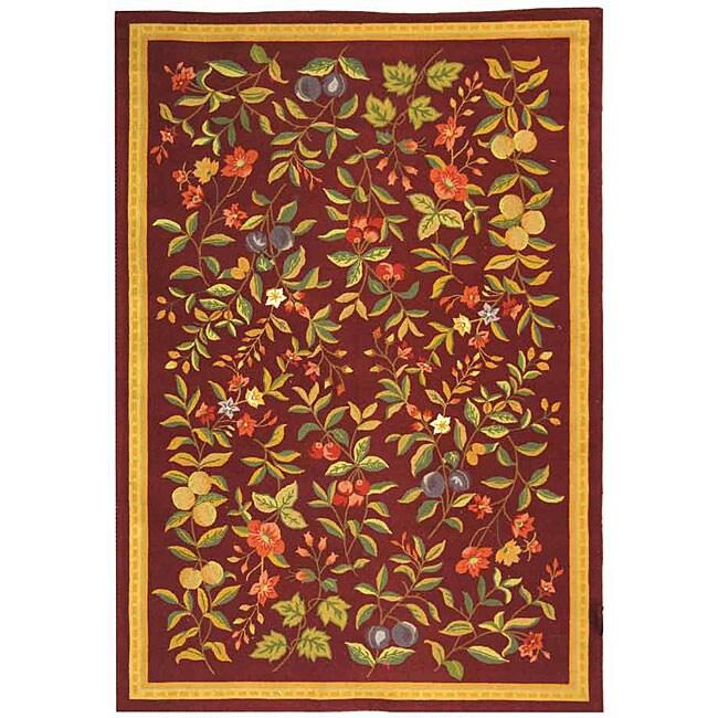 Safavieh Hand-hooked Botanical Burgundy Wool Rug (8'9 x 11'9)