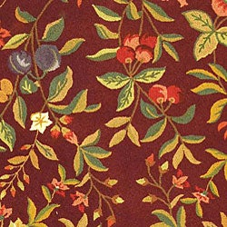 Safavieh Hand-hooked Botanical Burgundy Wool Rug (8'9 x 11'9) - Thumbnail 1