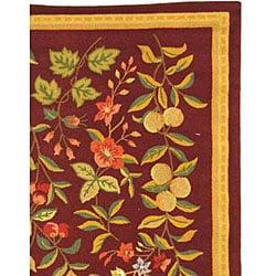 Safavieh Hand-hooked Botanical Burgundy Wool Rug (8'9 x 11'9) - Thumbnail 2