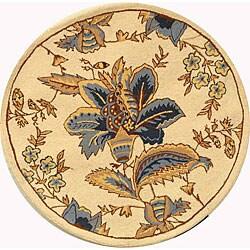 Safavieh Hand-Hooked Garden Floral Ivory Wool Rug (8' Round)